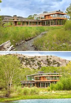 hughesumbanhowar architects have designed a home on a 2000-acre Montana ranch that's surrounded by hills, cottonwood trees and rivers.