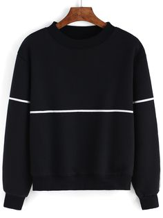 Striped Thicken Black Sweatshirt