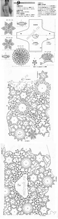 flowers and assembly diagram for a top Freeform Crochet, Crochet Art, Crochet Motif, Crochet Designs, Crochet Flowers, Crochet Patterns, Irish Crochet Charts, Irish Lace, Crochet Fashion