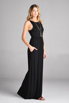 Black Maxi Dress with razorback and pockets. Length is long.