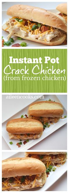 I made this crack chicken recipe and didn't even have to defrost my meat! Instant Pot Crack Chicken is a tasty and versatile chicken recipe made with frozen chicken breast, bacon, cream cheese, ranch seasoning, green onions, and sharp cheddar.    #instantpot #instantpotrecipes #chickenrecipes