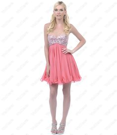 Coral Sequin Beaded Strapless Short Homecoming Dress