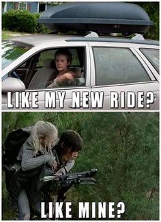 Carol riding her new car and Beth riding Daryl Dixon LOL | The Walking Dead Bethyl funny meme