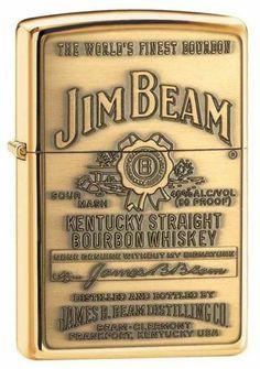 Zippo Lighter Jim Beam Emblem - High Polish Brass