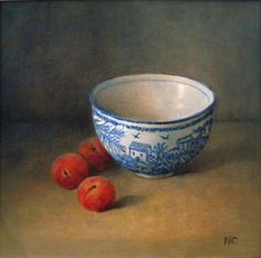 Bowl and Peaches_31cm x 31cm_Oil on Canvas