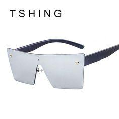 ea7082c242b TSHING 2017 New Rimless Sunglasses Fashion Italy Brand Catwalk Men Women  Steampunk Goggles Integrated Mirror Sun Glasses