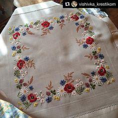 @vishivka_krestikom #tablecloth #crewel #needlework #handembroidery #embroidery #ricamo #broderie #bordado