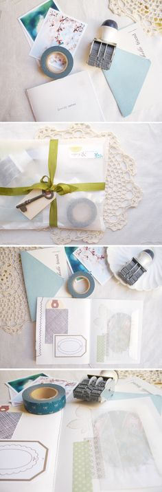 Cards, doilies, date stamp, tapes, glassine envelopes = yummy together. Photo from Oh Hello Friend blog.