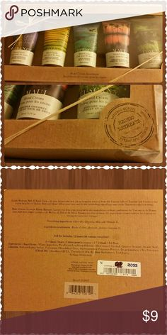 Brompton & Langley - Exotic Hand Cream (Set of 5) This is a NEW, UNUSED product, box is UNOPENED...Only has some minor dirt/dust on the outside of box as it has been sitting, untouched for a bit in bathroom cupboard.  I received this awesome Hand Cream Assortmet as a gift, but trying to downsize and recoup some money for a trip.  These are each 100mL/3.3 fl oz per container  Nourishing Ingredients include: Olive Oil, Glycerin, Aloe and Vitamin E.  Has Ross sticker Tag on back, but price was…