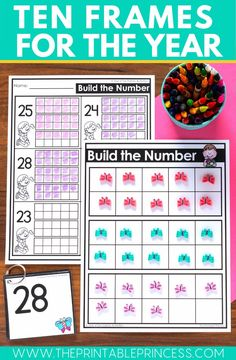 This resource includes ten frame mats and number cards for the entire school year.  There are three themes included for each month for a total of 27 themes. Including spring!