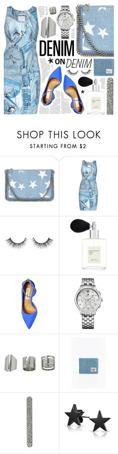 """""""Denim"""" by pastelneon ❤ liked on Polyvore featuring STELLA McCARTNEY, Moschino, Maison Louis Marie, Steve Madden, Tommy Hilfiger, Topshop, Herschel Supply Co., Bling Jewelry, denim and Blue"""
