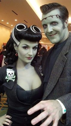 Rockabilly Bride of Frankenstein and Monster -- perfect shade of skin!
