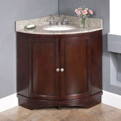 Best Photo Gallery Websites Lanza Corner Vanity Set with Backsplashes for the teeny tiny master bath