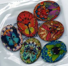 Bag of Mixed Wooden Buttons Floral Butterfly