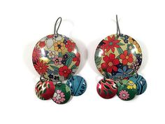Recycled Tin Earrings, Gypsy Chandelier Style, Floral Pattern by Tin Moon Jewelryworks on Etsy