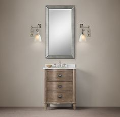 New! Upstairs 1/2 Bath | Restoration Hardware | Empire Rosette Powder Room Vanity Sink