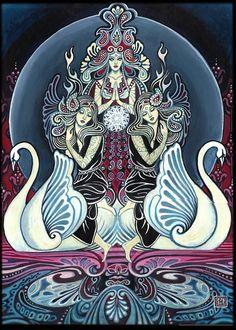 Cygnus déesse des cygnes 5 x 7 cartes de voeux par EmilyBalivet
