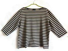 MARIMEKKO Top Black & Light Brown Nautical Top 3/4 Sleeves Women's Top Cotton Striped Top XL Size Top Large Women's Summer Top By Marimekko by Vintageby2sisters on Etsy