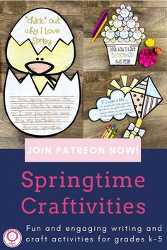 Calling all Patrons! Your April exclusive freebie is now posted! As temperatures warm up and spring is in full bloom, we decided it's time for a fun writing craftivity. There are multiple templates that you can use with your students to practice writing skills such as opinion writing, similes, creative writing, and descriptive details. These craftivities also help your students practice fine motor skills with coloring, cutting, and gluing. And, man, they create cute bulletin board displays.