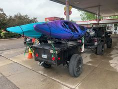 Kayak Fishing Mods Jeremy's Trailer Support Adventuring setup with a No Weld Rack for hauling kayaks and gear. Off Road Camping, Kayak Camping, Diy Camping, Kayak Fishing, Trailer Maker, Trailer Kits, Utility Trailer, Kayak Bike Trailer, Off Road Trailer
