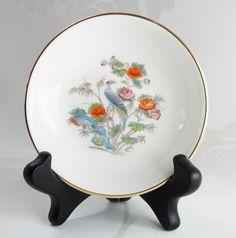 Wedgwood Kutani Crane Trinket Pin Dish Bone China Chinoiserie Pattern Home Decor