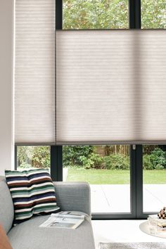 Luxaflex Duette Shades, Top-Down/Bottom-Up design option House Blinds, Blinds For Windows, Home Curtains, Curtains With Blinds, Dorset House, Best Blinds, Modern Window Treatments, Old Home Remodel, Living Room Windows