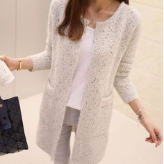 """Long Cardigan Women 2017 New Spring Autumn Sweater Women Long Sleeve Knitted Cardigan Female Tricot Women Clothes Pull Femme """"New Winter Women Casual Long Cardigan Au Crochet, Cardigan En Maille, Long Knit Cardigan, Knit Jacket, Cardigan Sweaters, Crochet Top, Pullover Mode, Cardigans For Women, Ladies Sweaters"""
