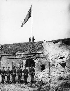 German flag hoisted over the Military Transport Depot of the Polish Army on the Westerplatte Peninsula after the surrender of the garrison.