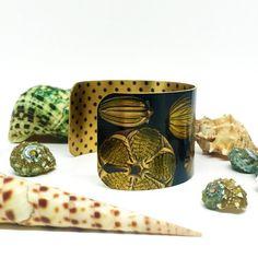 Fossil Jewellery - Statement Cuff Bracelet - Ernst Haeckel - Ocean Jewelry - Brass Cuff Bracelet - Black Polka Dots - Sku R10-DS005