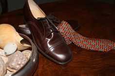 70s brown lace shoes and YSL silk tie