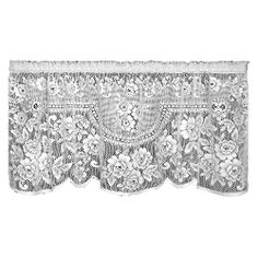 Heritage Lace Victorian Rose 60-Inch Wide by 30-Inch Drop Tier, Ecru by Heritage Lace. $15.99. Machine wash cold, gentle. Medium-gauge lace. Made in USA. 60-Inch wide by 30-inch drop. Window tier. Victorian Rose 60-inch wide by 30-inch drop Ecru Tier has a beautiful multiflora design with a lovely rose trim around the edges. Includes 1-inch header and 1-1/2-inch rod pocket in the stated dimensions.