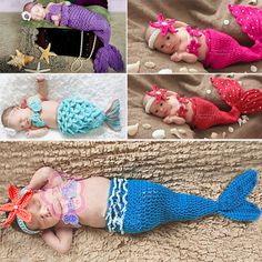 Newborn Coral Baby Headband Top Tail Mermaid Crochet Knit Costume Sz 0 12 Months | eBay