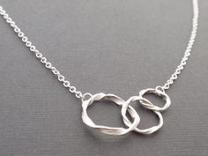Triple ring Sterling silver Necklace  simple by siemprejewelry, $26.00