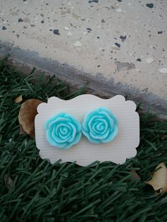 Turquoise Rose Resin cabochons Earings