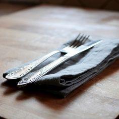 Grey Washed Linen Hemstitch Napkin | Linen Tales
