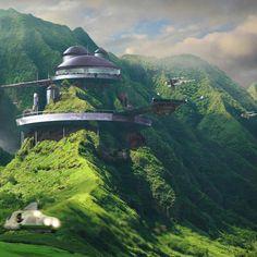 Science Fiction World. Fantasy City, Fantasy Places, Sci Fi Fantasy, Fantasy World, Futuristic City, Futuristic Architecture, Amazing Architecture, Architecture Design, Future City