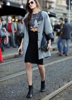 saia lapis midi com top cropped inverno bota e casaco de lã