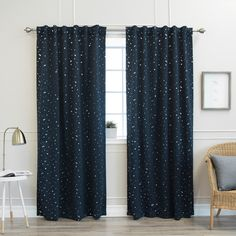 Aurora Home Star Struck 84-inch Insulated Thermal Blackout Curtain Panel Pair - 52 x 84 (Navy), Blue (Polyester, Novelty)