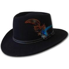 Black Australian Wool Wide Brim Dress Fedora Hat SKU-159081
