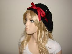 Slouchy Beanie Crochet Beret Black Slouchy Hat by OtiliaBoutique, $33.50