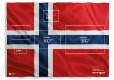 M&C Saatchi Stockholm uses the Norweigian 'flag of flags' to create a print ad that shows off Norweigian Airlines' low cost fares.