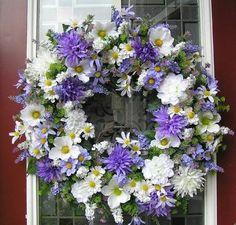 Purple & White Floral wreath