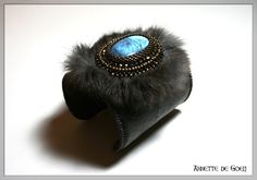 Leather bead embroidered cuff  Fur and by JirikiDesigns on Etsy, €115.00