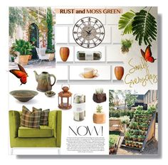 """Color Challenge: Moss Green and Rust"" by sharoncrotty ❤ liked on Polyvore featuring interior, interiors, interior design, home, home decor, interior decorating, CB2, Universal Lighting and Decor, Dot & Bo and Potting Shed Creations"