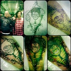 TrueArtists Leigh Soulink with this cool Hulk tattoo! via topoftheline99.com