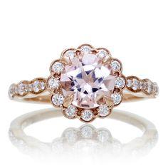 Morganite 7mm scallop vintage round halo diamond engagement ring rose gold