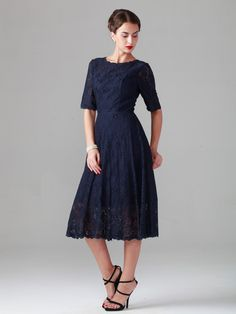 $159.99  Elbow Sleeve Lace Dress; Color: Midnight Navy; Sizes Available: 2-26W; Fabric: Lace, Satin