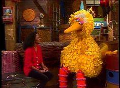 Diana Ross with Big Bird on SESAME STREET circa 1982