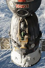 A Russian Soyuz spacecraft is seen docked to the International Space Station, as photographed by one of the Expedition 39 crew members aboard the orbital outpost. [Read the Full Story Here] [Read the Full Story Here] Cosmos, Space Shuttle, Soyuz Spacecraft, Nasa Space Program, Spaceship Interior, Air Space, Space Race, International Space Station, Other Space