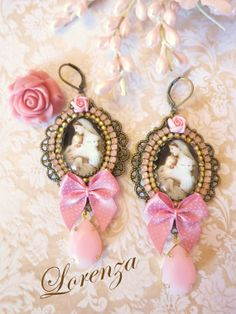 Paste lpink shabby  earrings  Mother Mary  by lorenza33 on Etsy, $46.00